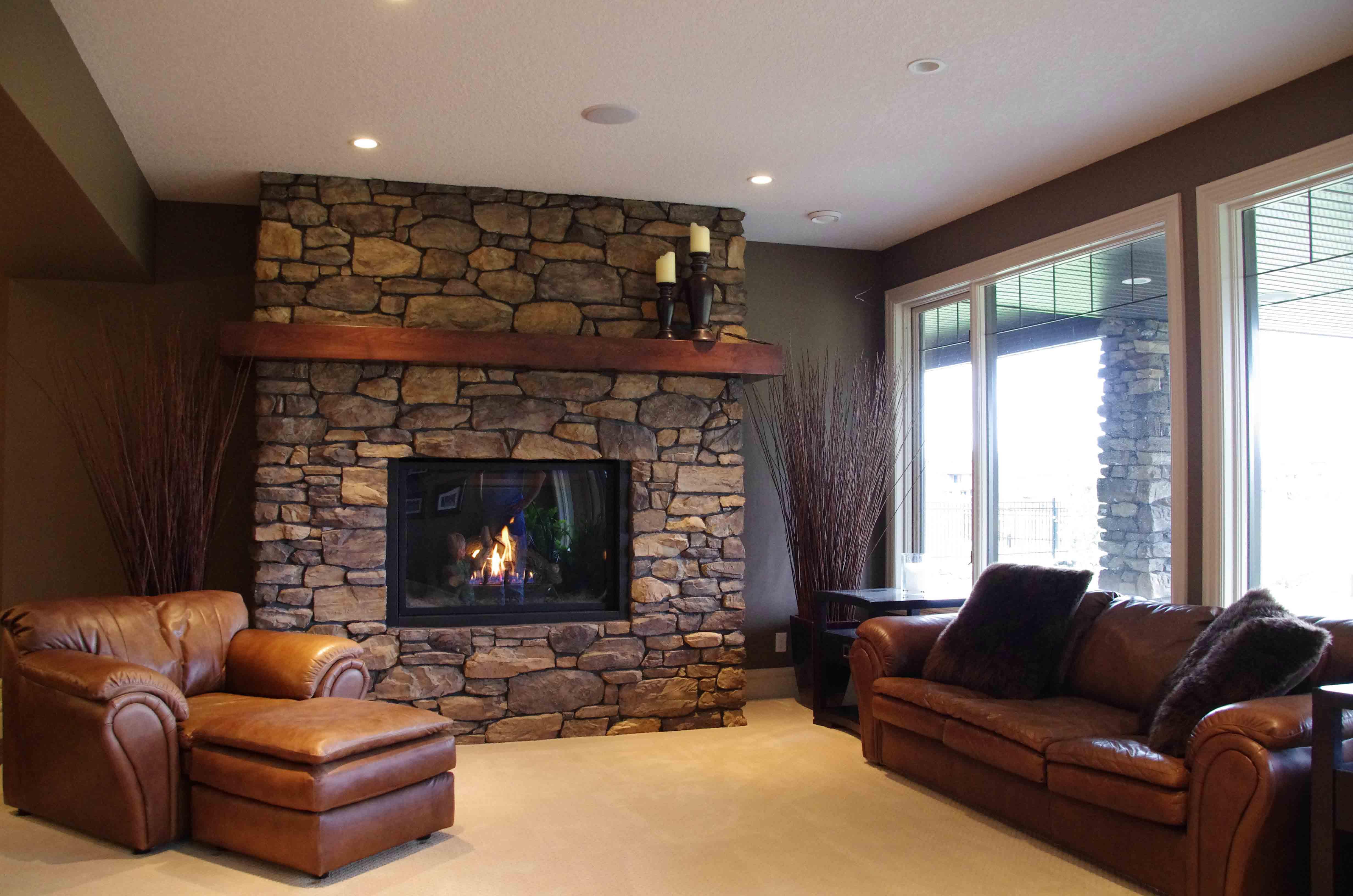 Living Room & Fireplace - Basement Development